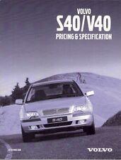 Volvo S40 & V40 Specification 2000-01 UK Market Brochure S SE Sport