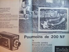 PUBLICITÉ KODAK MOINS DE 200 NF NOUVELLE CAMERA BROWNIE 8 mm