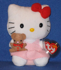 TY HELLO KITTY HOLDING TEDDY BEAR  BEANIE BABY - MINT with MINT TAGS