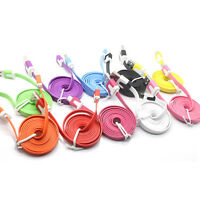 1M/3ft Flat Noodle Micro USB Charger Sync Data Cable for Android Mobile gbm11
