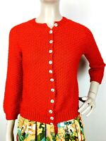 Vintage 60's 70's Red Crochet Chunky Knit Cardigan Sweater Size S/M