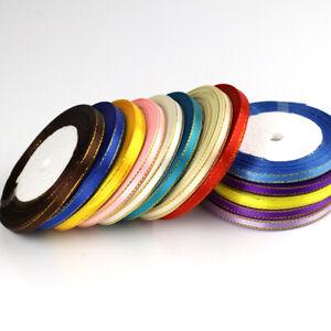 "Charm Wedding Multicolor 6mm 1/4"" Satin Ribbon 25 Yards Sewing Party Wedding US"