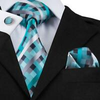 USA Hi Tie Classic Green Grey Plaids Checks Silk Men's Tie Set Necktie Business