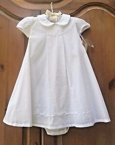 NWT Strasburg Boutique White Beaded Embroidery Formal Dress Diaper Cover Set 6M