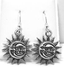 Pewter Sun and Moon Charms on Sterling Silver  Ear Wire Dangle Earrings - 0177