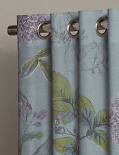 "NEXT Teal Botanical Floral Print Eyelet Curtain Velvet Trim 135x137cm 53x54"" NEW"