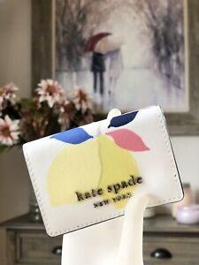 NWT Kate Spade Cameron Lemon Zest Micro Trifold Wallet WLRU6198 White Multi