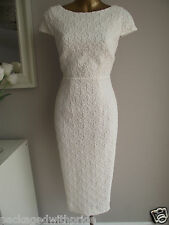 MONSOON LACE IVORY BRIDAL SHIFT PENCIL WIGGLE DRESS SUMMER BEACH WEDDING 18-20