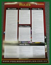 BILLIARDS-SNOOKER-EIGHT BALL-KELLY POOL-NINE BALL rules poster for all games