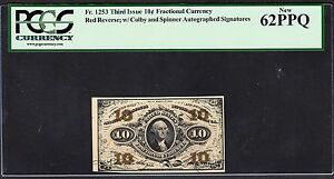 US 10c Fractional Currency Autographed Red Back FR 1253 PCGS 62 PPQ CU