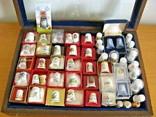 Vintage Thimble Collection X 51 Most Bone China + Original Boxes & Display Cases