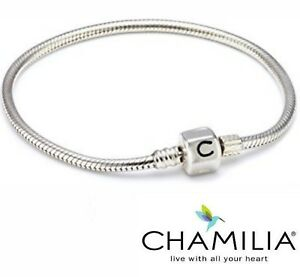 Genuine Chamilia silver 925 oyster snap clasp charm bracelet 19cm and bag