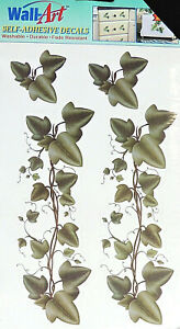 """4pc Green Ivy Leaves Wall Art Self Stick Adhesive Decals Decor 2"""" to 6-1/2"""" New"""