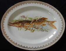 Grand plat décor poisson en Porcelaine de Limoges (brochet) TBE