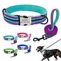 Reflective Fleece Padded Dog Collar and Leash Set Personalized ID Name Collars