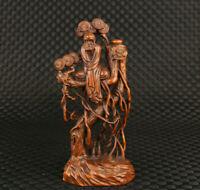 china old boxwood hand carved Bodhidharma buddha on tree statue home decoration