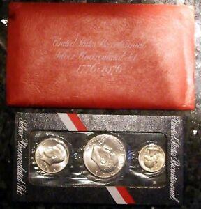 1976 Bicentennial U.S. Mint Uncirculated 3-Coin SILVER Set