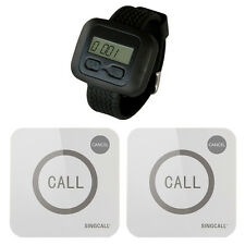 SINGCALL Wireless Service Calling Pager System 1 Watch 2 Buttons Touchable Bells