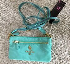 NWT JPK PARIS TURQUOISE MINI CROSSBODY BAG CLUTCH RIBBON STRAP