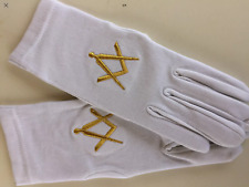 Gants coton brodés franc maçon embroded masonic gloves