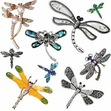 Vintage Animal Shell Pearl Crystal Dragonfly Brooch Pin Womens Costume Jewellery
