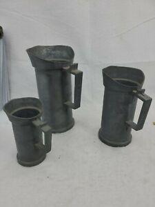 """Antique Set Of 3 Old Pewter Measuring Cups Liter, 1/2, & """"2 Deciliter"""" Stein Mug"""
