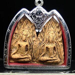 Old Phra Khun Paen,Kru Ban Krang Pim Plaiku ,Supanburi , Thai buddha amulet Rare