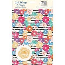 Gift Wrap & Tags - Black & White Floral (2 Sheets+Tags)