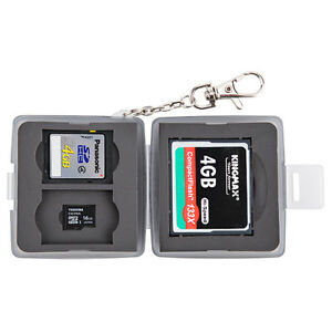 JJC Anti-dust Memory Card Case Hard Holder w/ Lock & Ring for 1CF+2SD+2MSD Cards