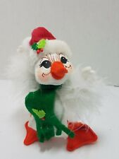 """2009 Annalee 6"""" White Christmas Duck Goose Doll Figure Red Hat Scarf"""