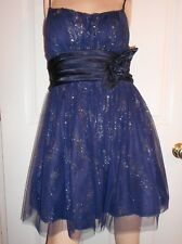 Navy Silver Homecoming Prom Formal Evening Wedding Ball Gown Cocktail Dress sz 5