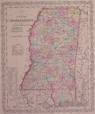 Mississippi Map Charles Desilver 1857 'A New Map of Mississippi'