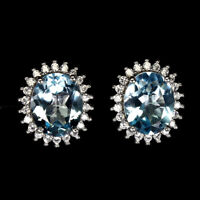 Oval Sky Blue Topaz 11x9mm Cz 14K White Gold Plate 925 Sterling Silver Earrings
