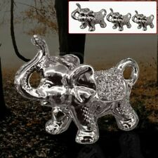 Silver Italian Set Of 3 Elephant Figurine Ornament Gift Romany Decoration