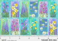 Nature's Garden Floral Panel 25'' x 44'' Cotton Fabric by P & B Textiles.