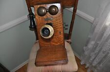 vintage antique oak wall phone