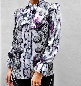 John Zack Pussy bow  Tie V Neck  Blouse Shirt  Top   Snake print Ladies UK