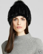 NWT $450 Maximilian Knitted Mink Hat Black