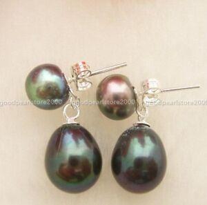 Pretty Design Natural South Sea Black Pearl Stud Earrings 14k white Gold P Stud