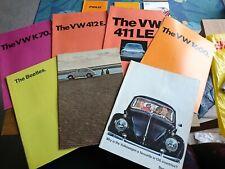 VW Beetle 1963, 1967, 1970. 1600 1972, 411LE 1971, 412E 1972, K70 1972 brochure