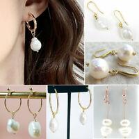 Cute Women 14K Yellow Gold Baroque Pearl Hoop Earrings Ear Cultured Aurora