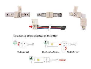 LED Adapter Lichtband Strip Verbindungskabel Kabel PIN Stecker Clip Ecke Eck RGB