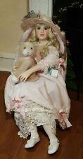 "Masterpiece Dolls Arabella 42"" Blonde Girl With Blue Eyes Chair & Cat Nice Dress"