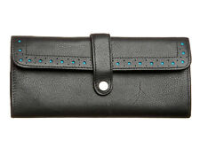 Leather Purse Black with Turquoise Lining & Mini Ballpoint Pen by Cross Gift Set