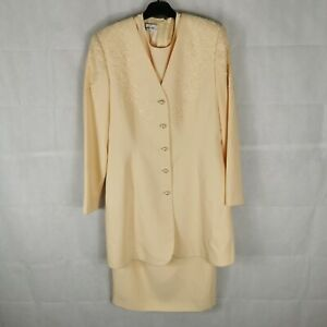 Ladies Dress Jacket Suit Outfit Mother of Bride Wedding Size 12 CONDICI Yellow