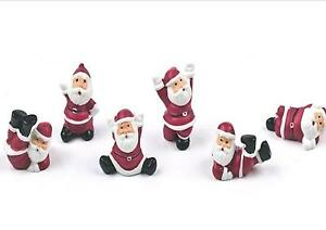 6x mini santa's / santa clus Christmas Cake Decorations yule log cupcake toppers
