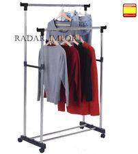 Perchero metalico con Ruedas Extensible de Altura Ajustable Plegable acero inox.
