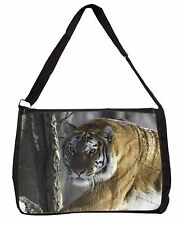 Tiger in Snow Large Black Laptop Shoulder Bag School/College, AT-9SB