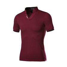 HOT Men Casual T-shirt V-neck Collar Short Sleeve Tee Shirt Polo Tops Plus Size