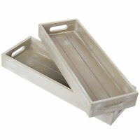 MyGift 17-Inch Rustic Wood Decorative Serving Trays with Cutout Handles Set of 2